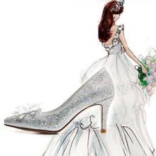 baby婚纱照鞋子尖头高跟鞋细跟灰姑娘水晶鞋婚鞋新娘鞋水钻单