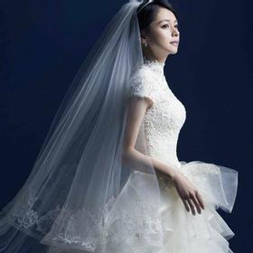 心动价!皇冠等!立领婚纱韩式宫廷复古蕾丝显瘦秋冬款一字肩大码