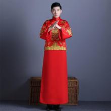 百搭款!2017吴奇隆同款男式奢华黄龙袍卦中式新郎礼服中式
