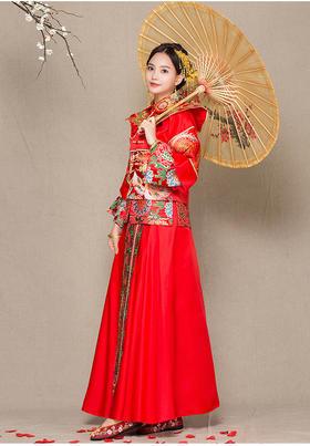 孕妇长袖高腰结婚礼服中式改良秀禾服新娘婚纱礼服龙凤褂