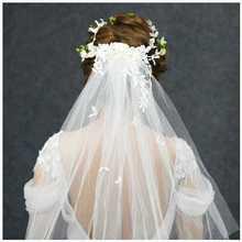 新款韩式绢纱花环头饰婚纱结婚饰品甜美森系头纱头花手工网纱发饰