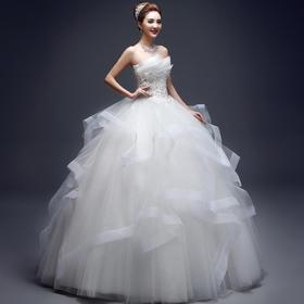 新款春季新娘结婚抹胸修身齐地显瘦韩式春夏蓬蓬裙