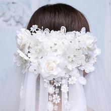 新款超长3米韩式蕾丝花朵头纱软纱短款结婚婚纱配饰