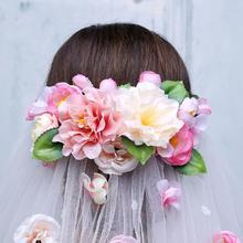 2016新款花朵婚纱配饰超长头纱拖尾婚纱头纱