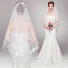 2016红色唯美蕾丝双层遮面婚纱头纱