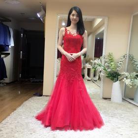 优雅气质红色新娘结婚敬酒服 新款修身显瘦鱼尾绑带宴会晚