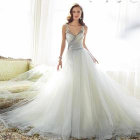 欧式宫廷拼色婚纱礼服 新款肩带V领漏背显瘦绑带拖尾婚纱