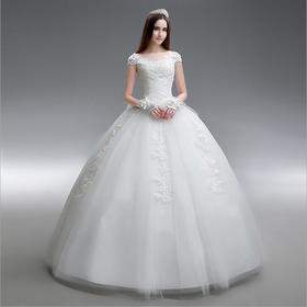 新款简约一字肩新娘大码婚纱礼服齐地显瘦款特价