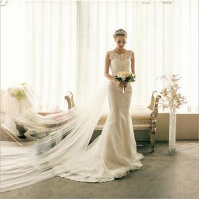 法国高端定制蕾丝露背鱼尾拖尾新娘婚纱礼服a3