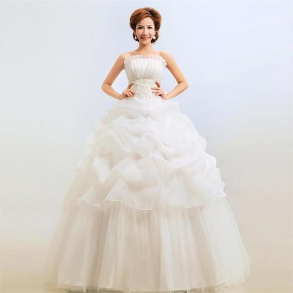 婚纱韩版婚纱礼服新款 抹胸韩式公主显瘦婚纱新娘大码