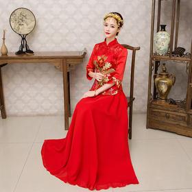新款红色新娘结婚旗袍礼服敬酒服长款秋季龙凤褂