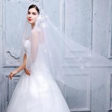 新娘头纱2016新款韩式手工刺绣立体花朵3米超长拖尾头纱软纱