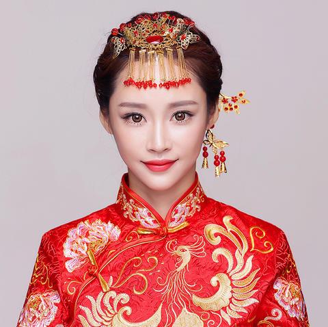 摇红 中式新娘头饰古装复古婚礼发饰套装秀禾服龙凤褂图片