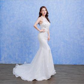 新娘婚纱韩式蕾丝鱼尾裙修身显瘦小拖尾结婚礼服秋冬A14