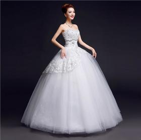 结婚礼服高档钻饰抹胸蕾丝花边韩式收腰影楼新娘婚纱A16