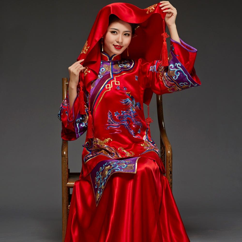 华芬嫁衣-结婚民国古装旗袍 喜服婚纱 刺绣新娘秀禾服中式嫁衣图片