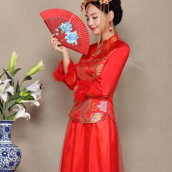 送头饰耳环发簪旗袍 新款冬季中式结婚礼服加棉修身秀禾服