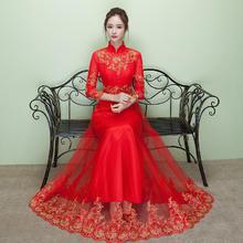 红色敬酒服新娘长款冬季长袖修身中式结婚礼服