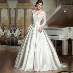新款新娘长袖缎面婚纱礼服V领高档豪华蕾丝拖尾婚纱礼服