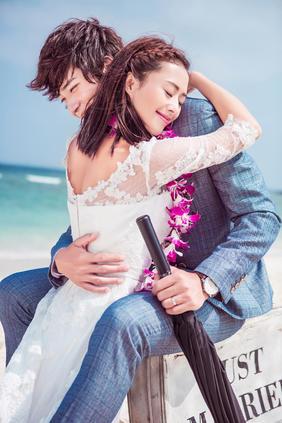 蜈支洲岛蜜月旅拍小清新沙滩婚纱照