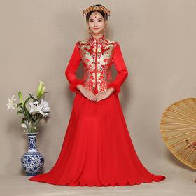 新款冬季中式结婚礼服加厚长款秀禾服嫁衣