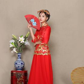 秀禾服新娘礼服敬酒服长款 新款冬季中式复古结婚旗袍红色
