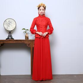 敬酒服复古改良旗袍 秋冬新款新娘结婚长款红色时尚中式