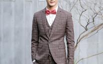【三件套】男士英伦修身小西装结婚套装伴郎礼服韩版修身格子西服