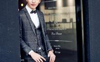 西服套装男新郎结婚礼服韩版修身格子西服男英伦修身小西装伴郎服