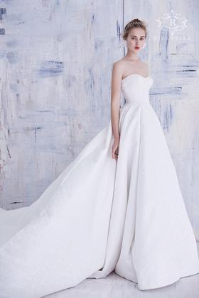 春夏新款玫瑰印花缎面抹胸大拖尾婚纱礼服