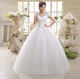 韩版双肩修身结婚大码新娘蕾丝绑带影楼特供婚纱D7