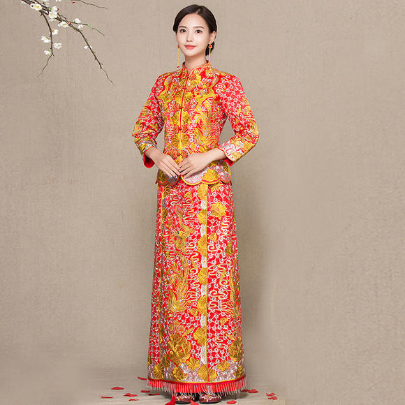 新款龙凤褂中式婚纱礼服嫁衣新娘结婚敬酒服长款改良旗袍