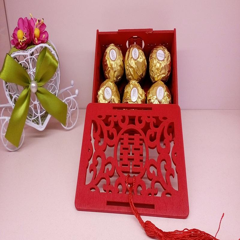 成品喜糖盒 中式中国风木质镂空结婚糖盒 婚礼包装盒木头喜糖盒