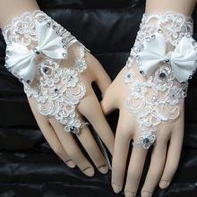 新款韩式蕾丝水钻新娘手套蝴蝶结短款露指手套结婚婚纱配件27