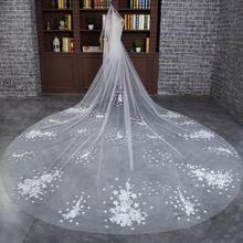 新款 新娘头纱婚纱新款韩式头纱超长结婚拖尾婚礼蕾丝发梳长头纱
