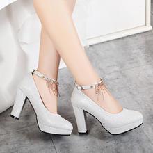 婚鞋女红色冬季新款高跟鞋防水台结婚鞋水钻绑带粗跟大小码新娘鞋