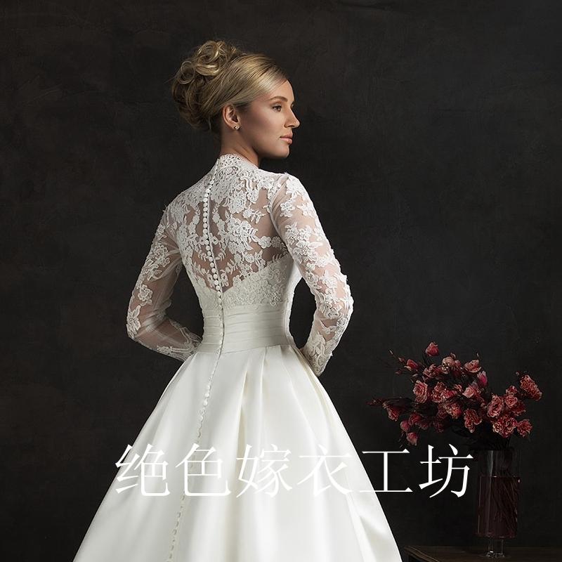 新款婚纱礼服新娘欧式复古新娘结婚显瘦双肩v领蕾丝