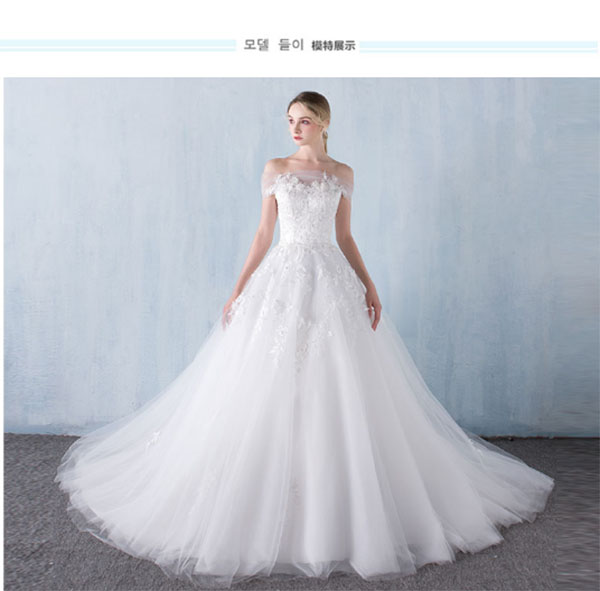 送3米头纱!2016新款韩式一字肩拖尾蕾丝结婚婚纱修身显瘦时
