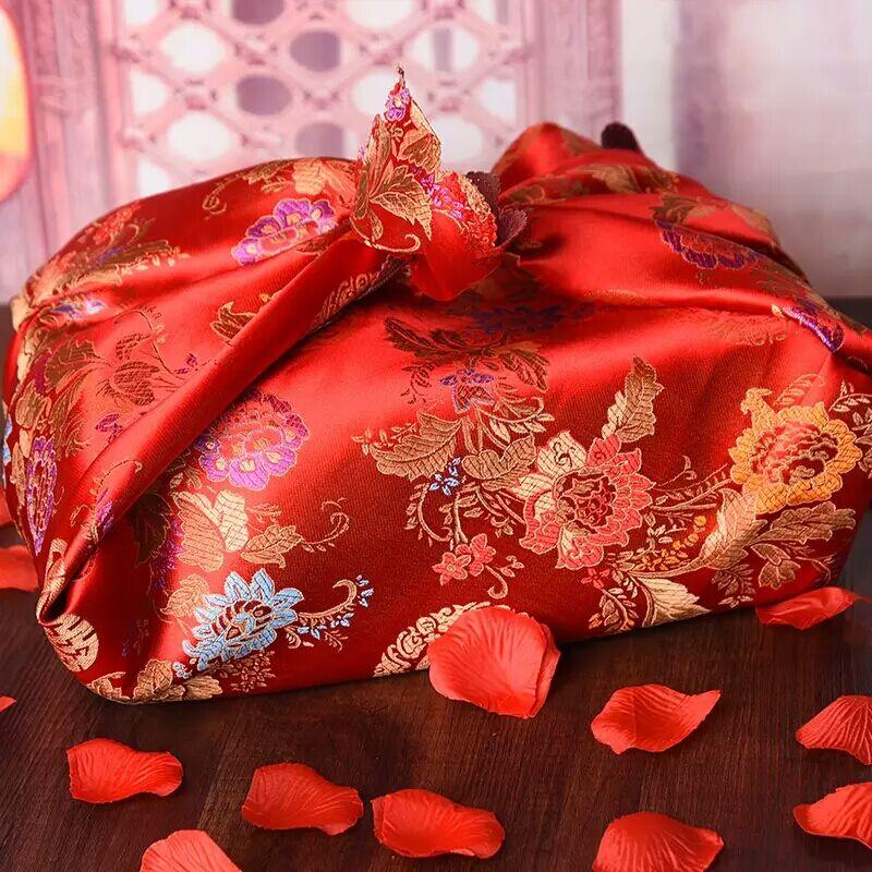 婚庆用品喜盆包裹红布大号中式刺绣红色包袱皮 结婚新娘嫁妆