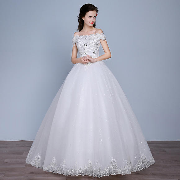 新款婚纱修身显瘦 结婚新娘孕妇立体花齐地高级婚纱礼服
