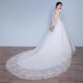 婚纱礼服 新款大长拖尾双肩公主蓬蓬裙新娘结婚修身显瘦