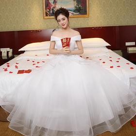 新娘婚纱公主婚纱礼服白色结婚一字肩结婚婚纱礼服35