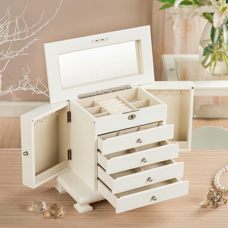 首饰盒公主欧式韩国饰品收纳盒实木质珠宝盒多层化妆盒结婚礼物