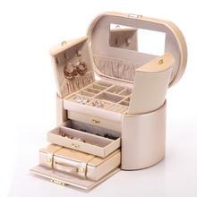 K527豪华三层双耳式首饰盒饰品收纳盒 便携小盒结婚礼物