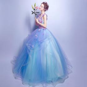 蓝色花朵深v领新娘结婚敬酒服长款婚纱礼服晚宴年会演出服