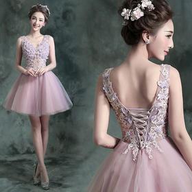 粉紫色伴娘装新娘结婚敬酒晚宴年会短款婚纱小礼服624冬季