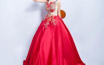 红色花朵刺绣性感露背新娘结婚敬酒服长款婚纱晚宴年会礼服