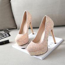 春季婚鞋女红色防水台新娘鞋婚礼高跟鞋细跟水晶鞋水钻婚纱舞台鞋