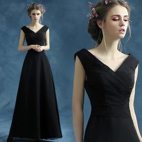 性感黑色v领新娘长款婚纱晚宴年会演出主持人礼服