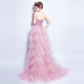 粉色抹胸前短后长款新娘婚纱小礼服晚宴年会婚礼结婚敬酒服
